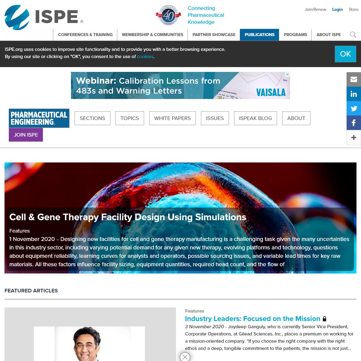 Pharmaceutical Engineering Home - ISPE - International Society for Pharmaceutical Engineering