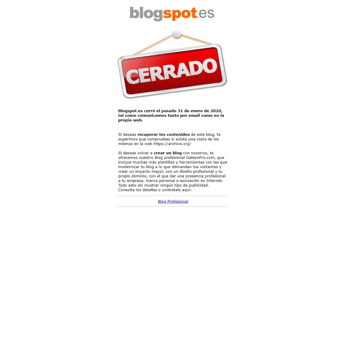 ¡Adios compañeros de Blogspot.es!
