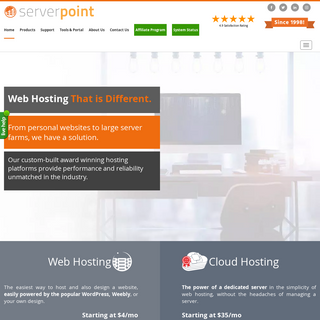 Dedicated server hosting, cloud VPS virtual servers and web hosting services by ServerPoint.