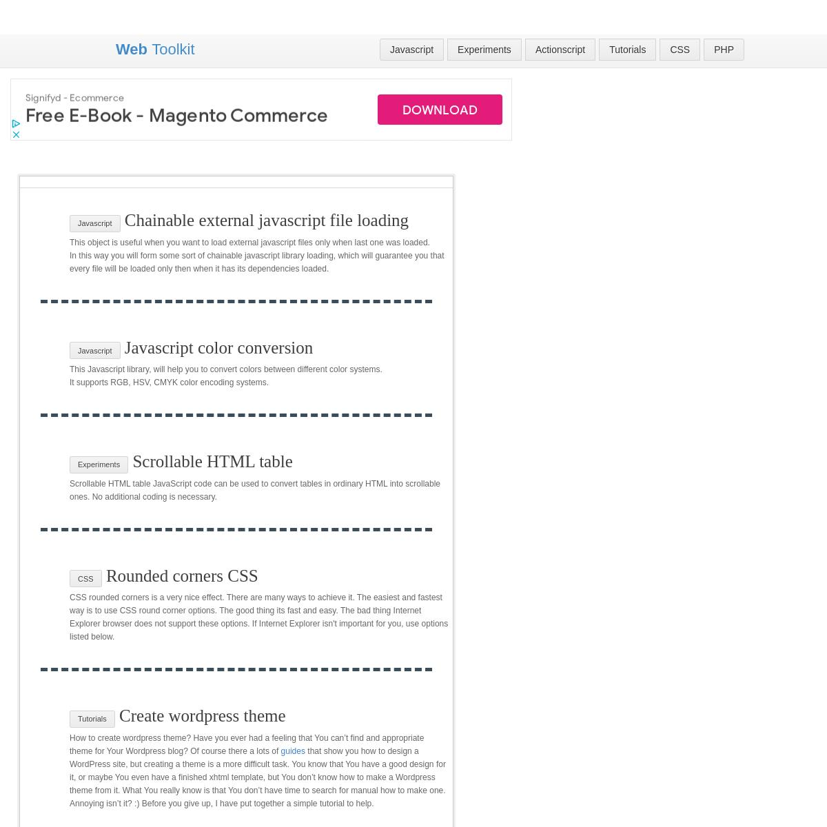 webtoolkit.info - Code Snippets Repository