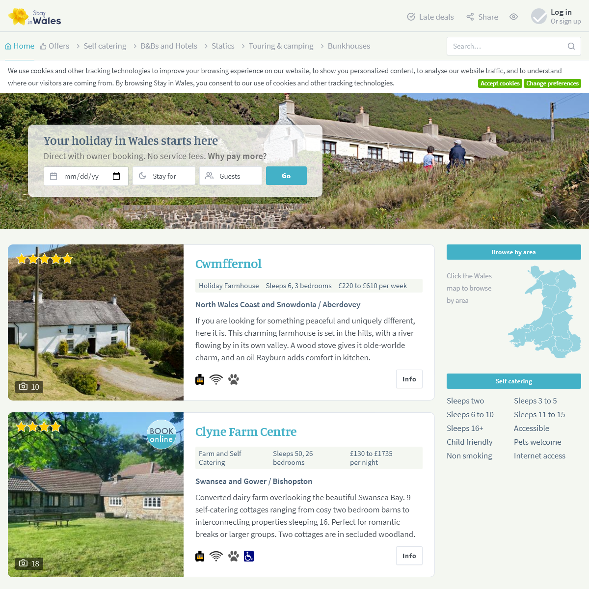 Wales Holiday Accommodation - Cottages, Hotels, Bed and Breakfast
