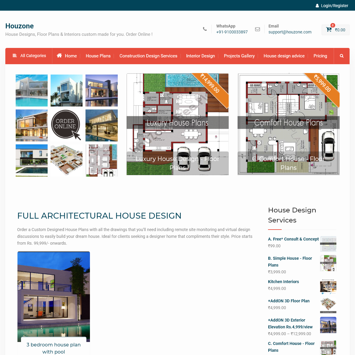 Houzone – House Designs, Floor Plans & Interiors custom made for you. Order Online !