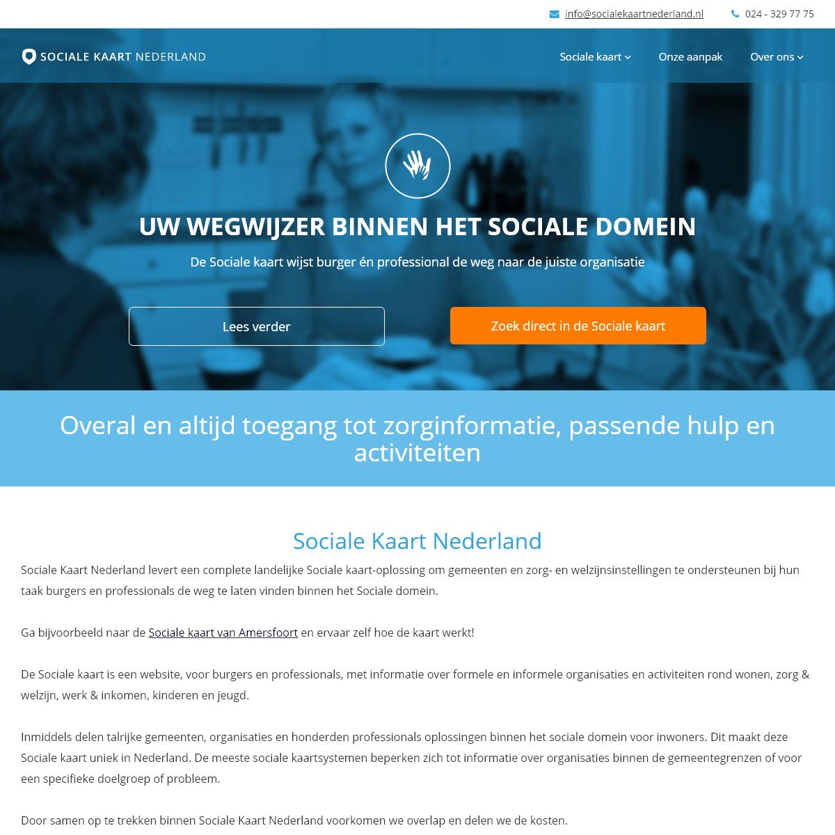 Sociale Kaart Nederland - Overal en altijd toegang tot hulp en informatie