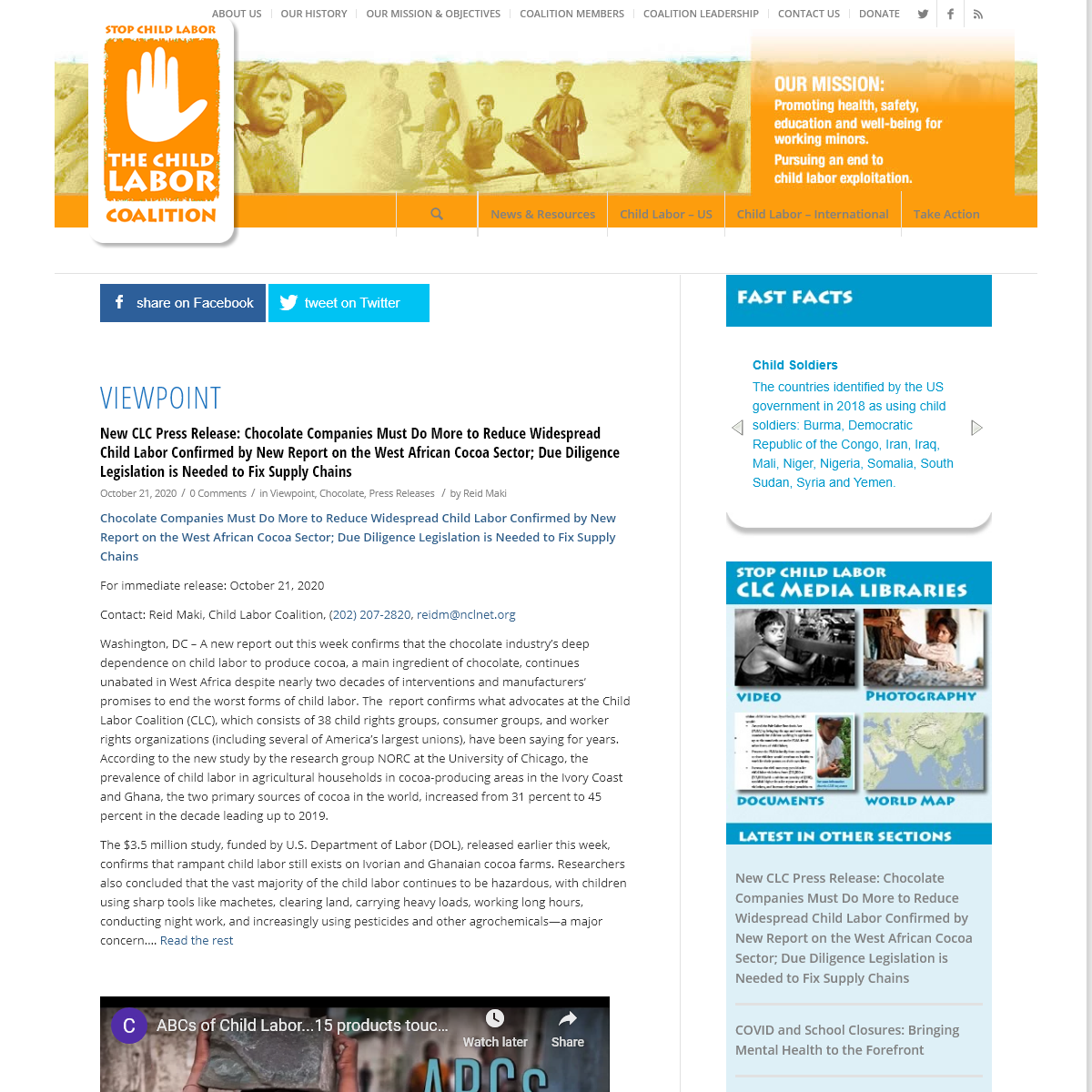 stopchildlabor – the Website of the Child Labor Coalition