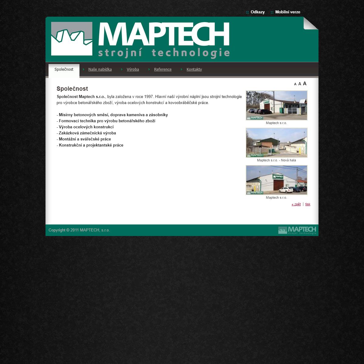 Maptech - MAPTECH, s.r.o. - Strojní Technologie