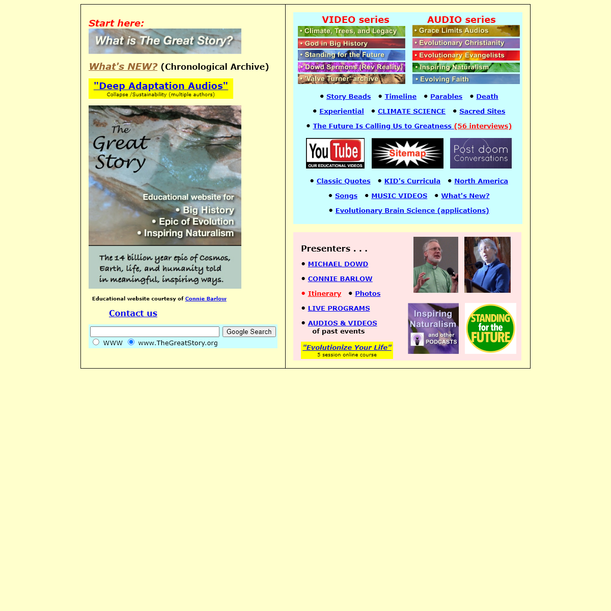 The Great Story Website created by Connie Barlow