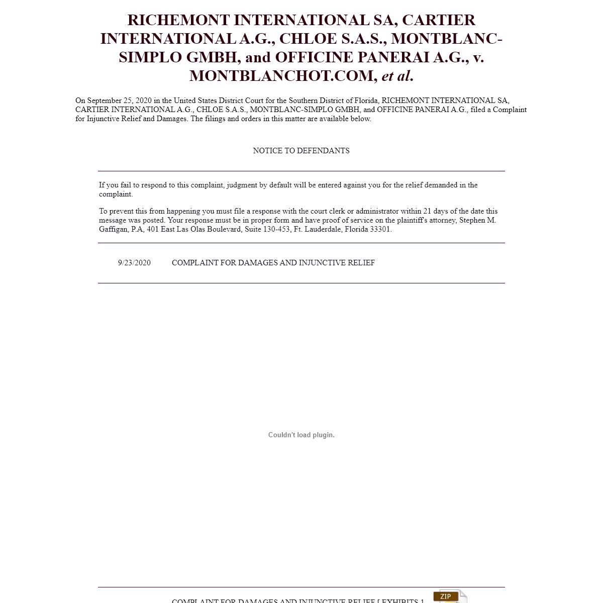 RICHEMONT INTERNATIONAL SA, CARTIER INTERNATIONAL A.G., CHLOE S.A.S., MONTBLANC-SIMPLO GMBH, and OFFICINE PANERAI A.G. et al., v