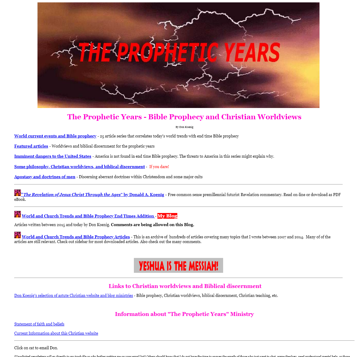 The Prophetic Years - Christian Worldviews and Bible prophecy