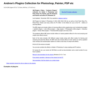 180 Amazing Andrew`s Plugins for Photoshop, PSP, Painter etc