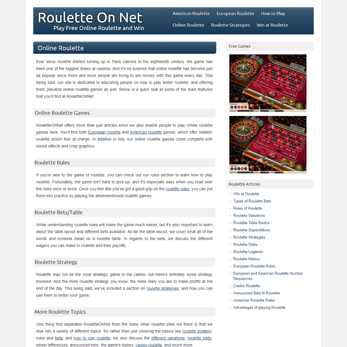 Roulette On Net - Play Free Online Roulette and Win