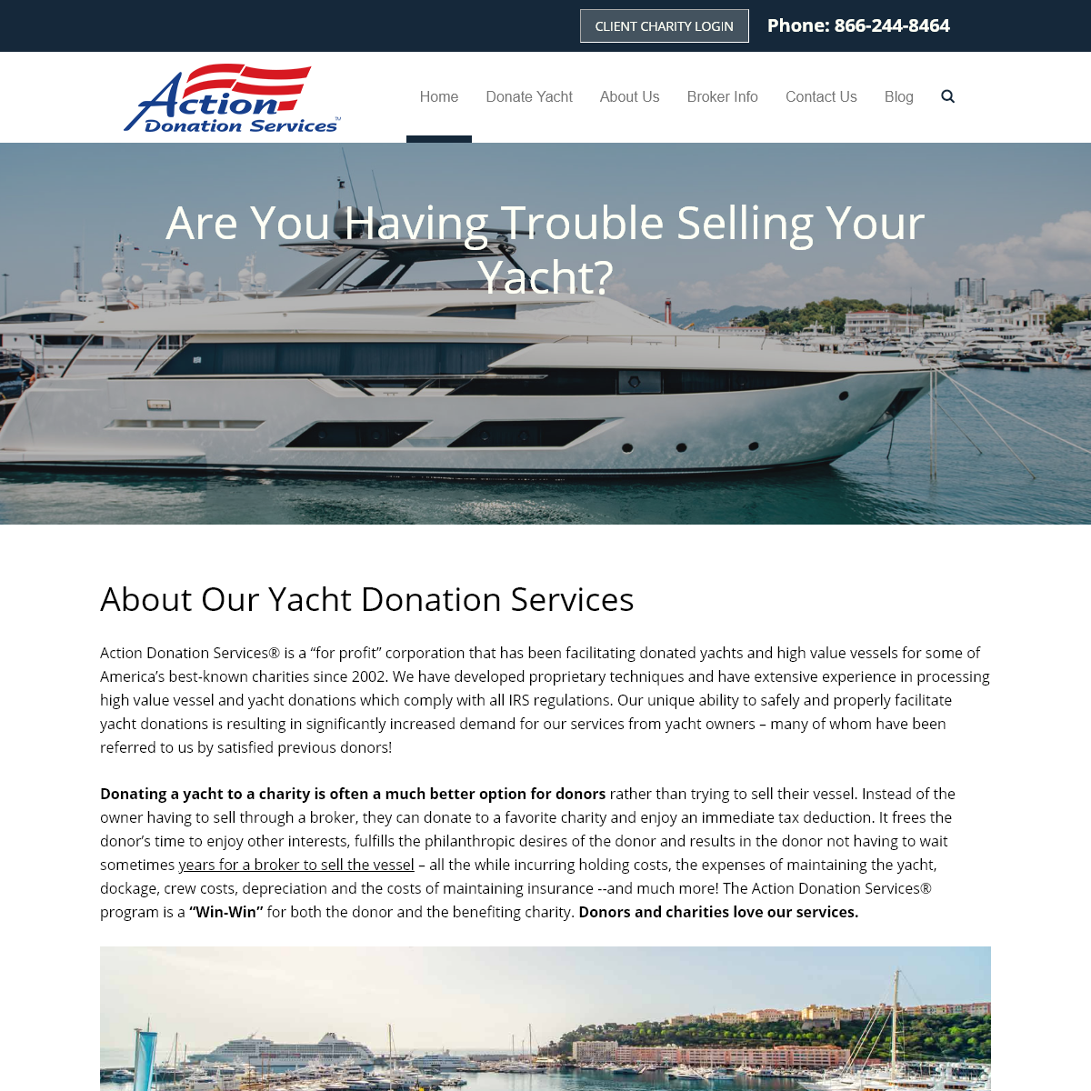 Donate a yacht to charity- Action Donation Services