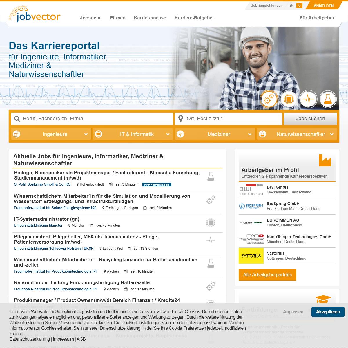 jobvector - Aktuelle Jobs & Stellenangebote - Spezialjobbörse