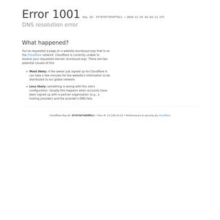 DNS resolution error - kundusyd.org - Cloudflare
