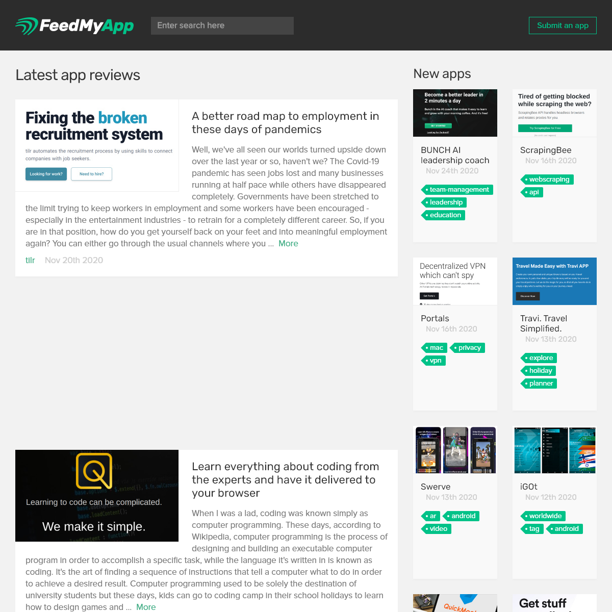 Latest app reviews - FeedMyApp