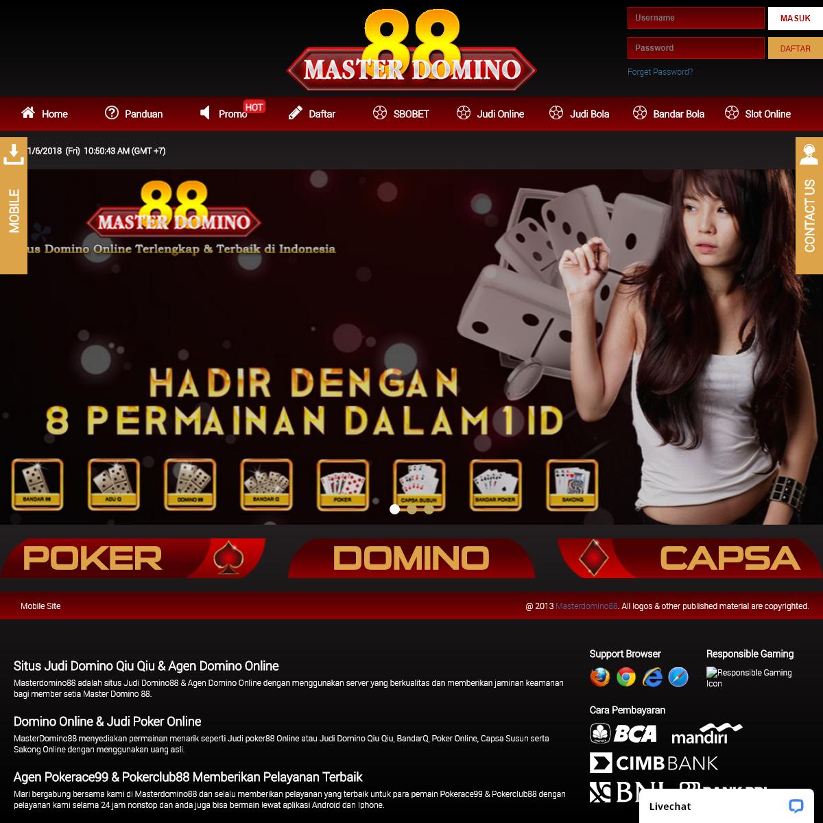 Masterdomino88 Situs Judi Poker Domino Online Terpercaya