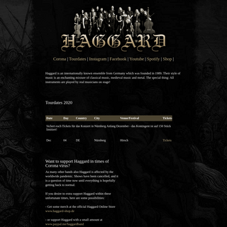 Haggard Official Website
