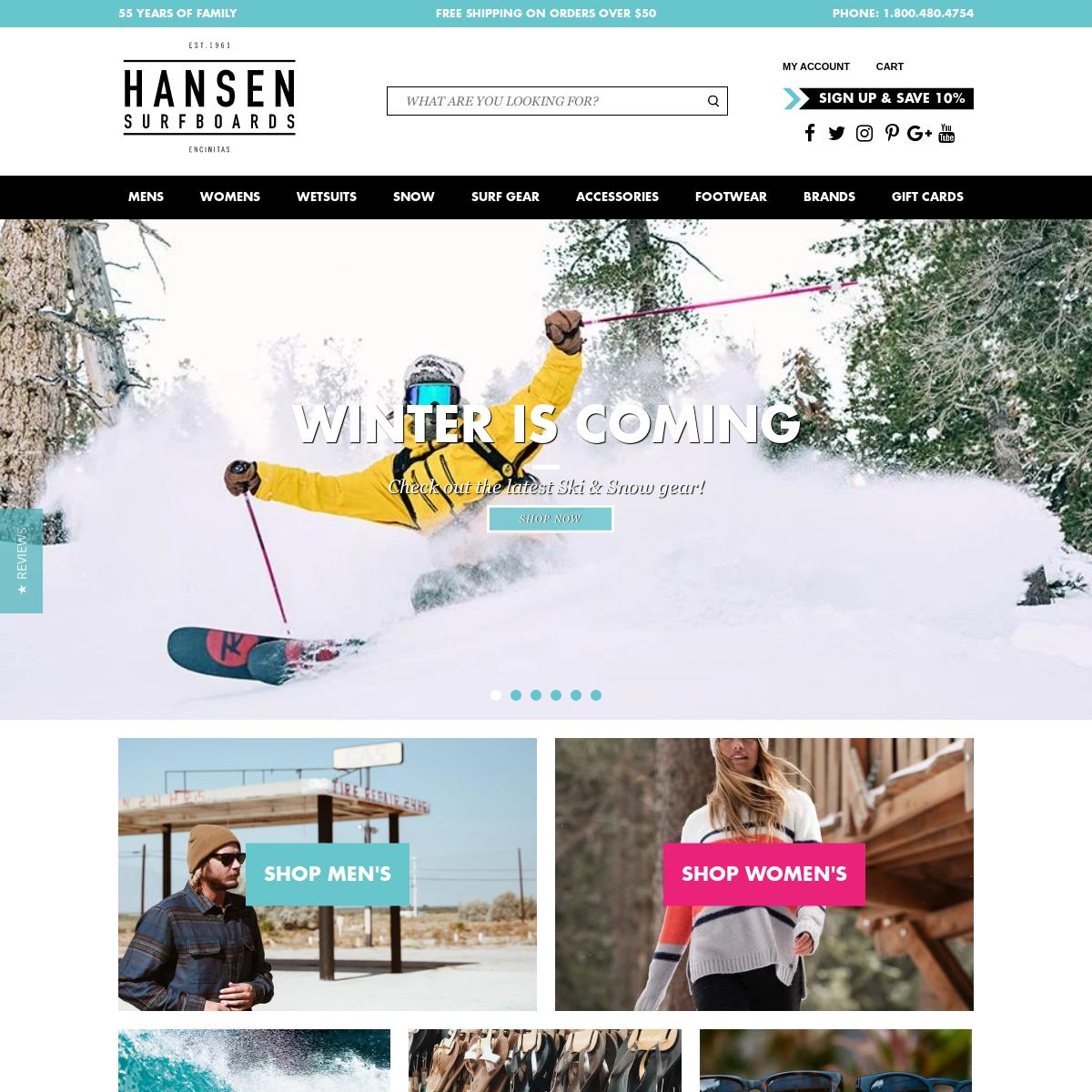 Hansen Surfboards - Online Surf Shop - San Diego Surf Cams