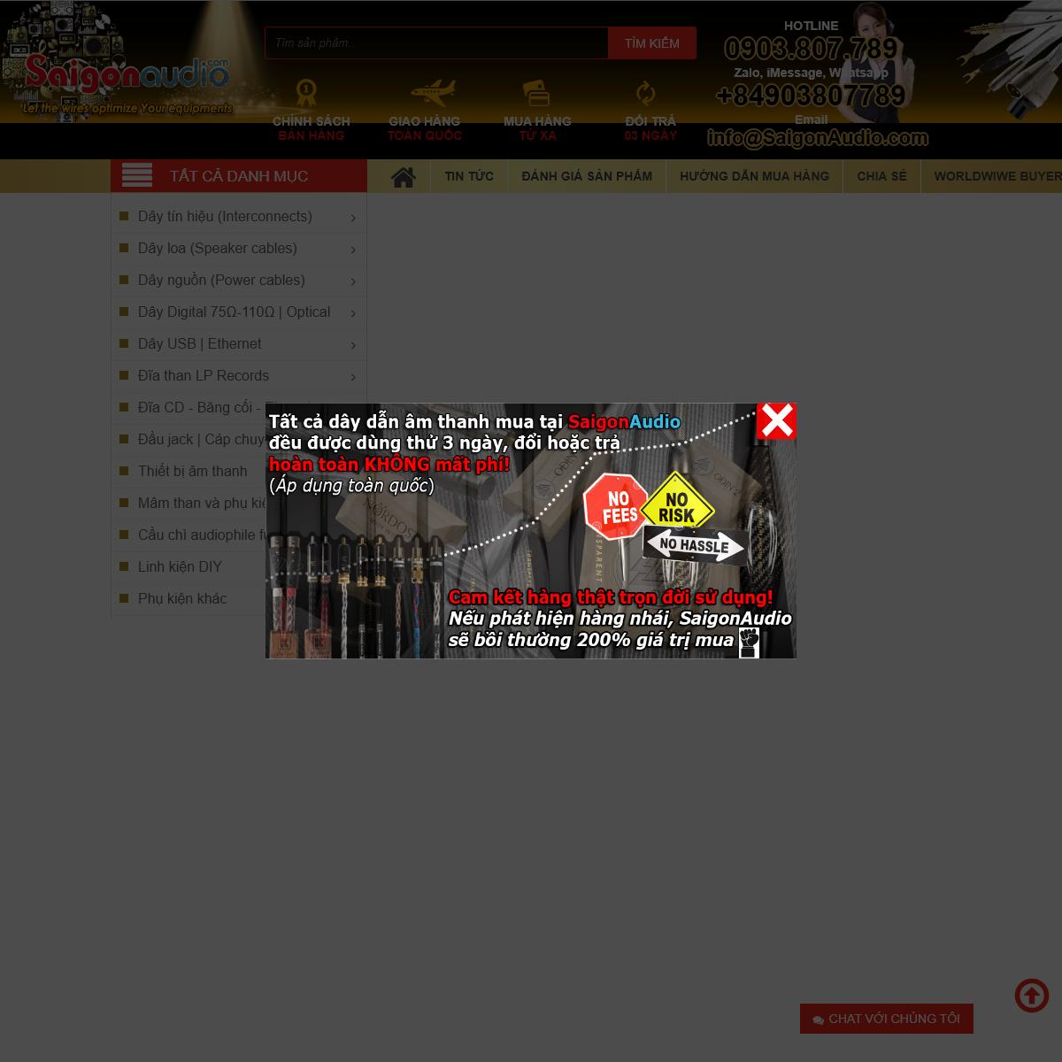 .-- SaigonAudio.com - Dùng thử 3 ngày - Chỉ bán hàng thật- Dây loa - Dây tín hiệu - Dây nguồn - Coaxial - Opti