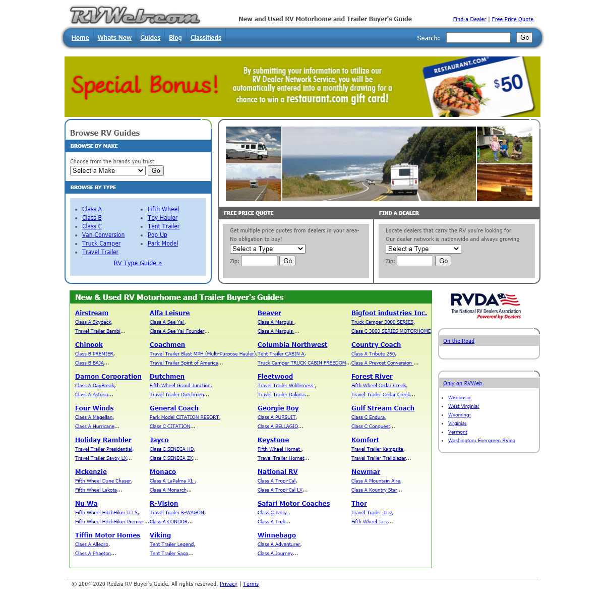 New & Used RV Motorhome and Trailer Price Quotes & Buyer`s Guides - RVWeb.com