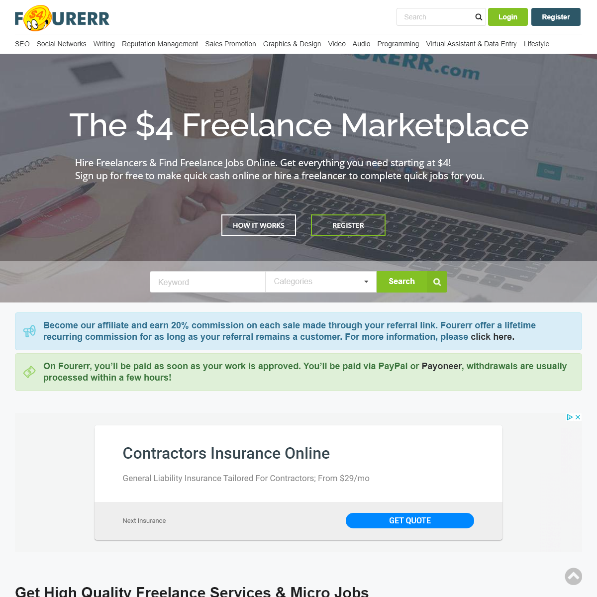 Fourerr - The $4 freelance marketplace. Small Jobs. Big Results.