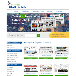 National and local newspaper subscriptions at discounted prices