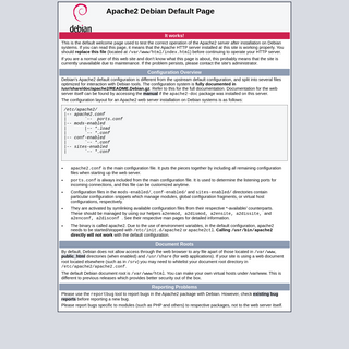Apache2 Debian Default Page- It works