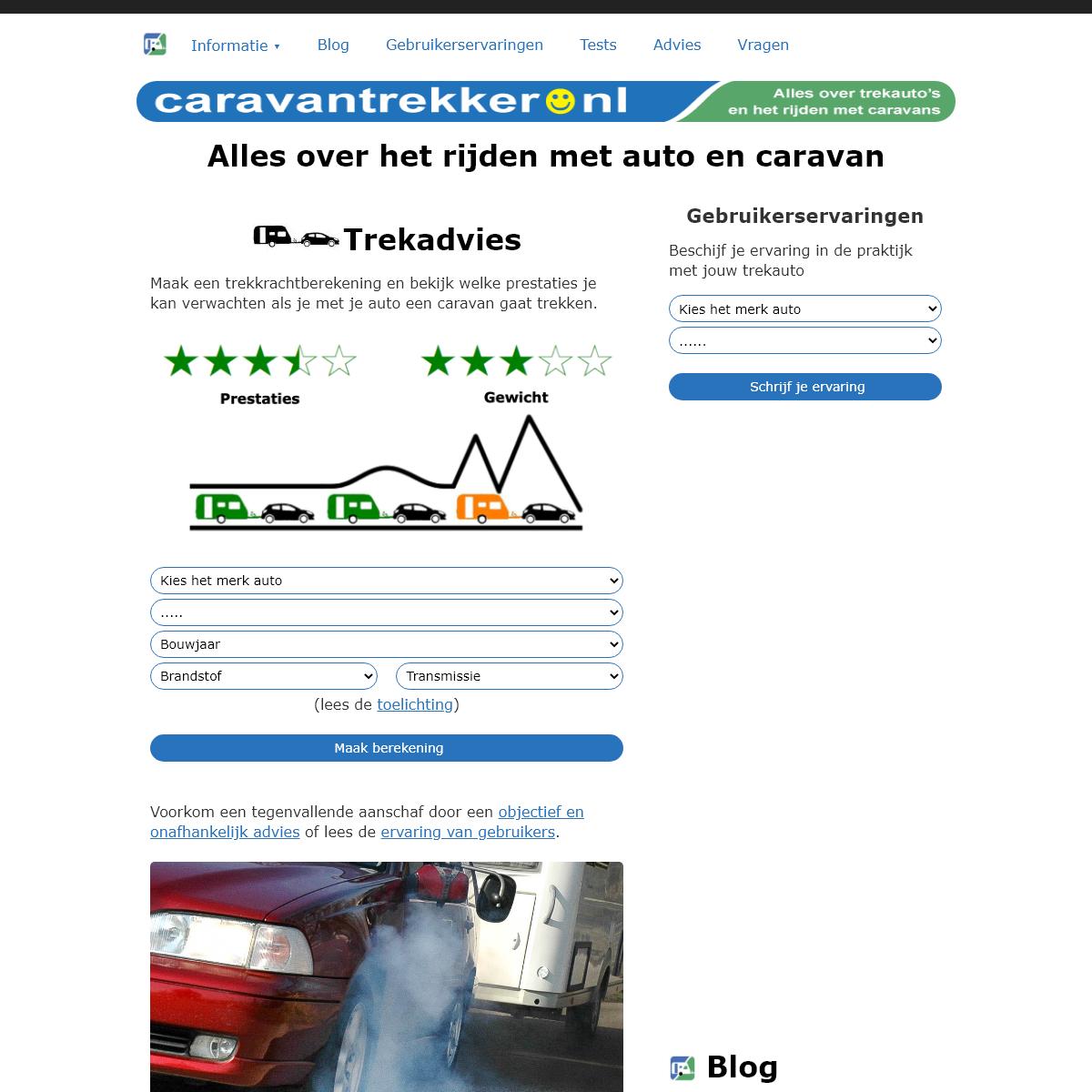 Caravantrekker.nl Trekkracht van elke auto met caravan