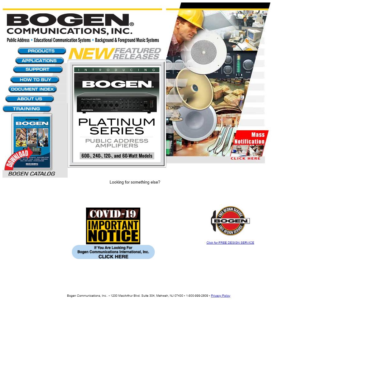 Bogen Communications- Speakers, Amplifiers, Audio Applications