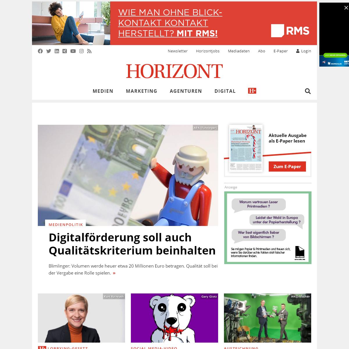 HORIZONT - Marketing, Werbung und Medien für Österreich