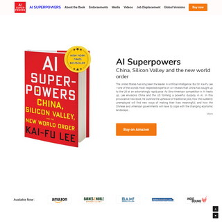 AI SUPERPOWERS new book by Kai-Fu Lee of Sinovation Ventures