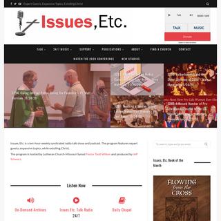 Issues, Etc. — Christ-Centered, Cross-Focused Talk Radio