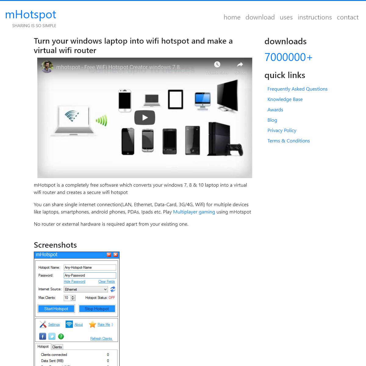 mHotspot - Turn your laptop into wifi hotspot
