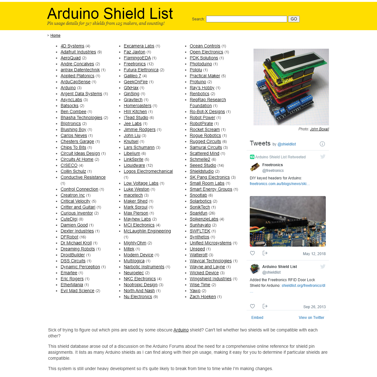 Arduino Shield List
