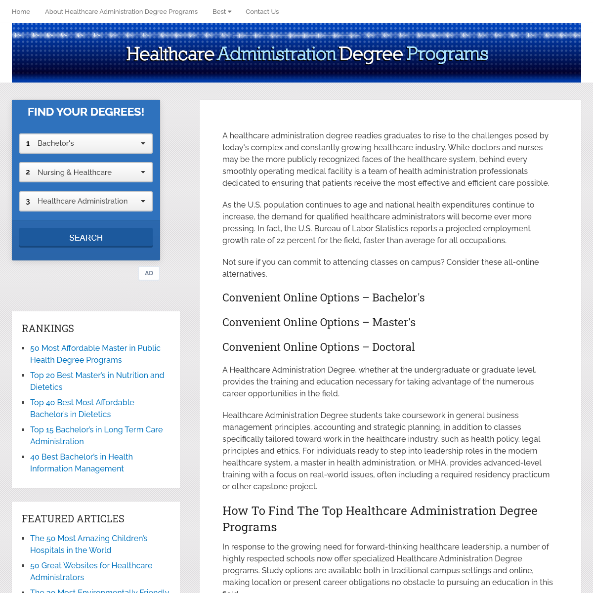 - Healthcare Administration Degree Programs