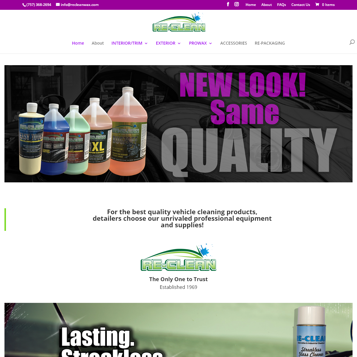 Reclean Products - Car Wax - Degreasers - Glass Cleaners