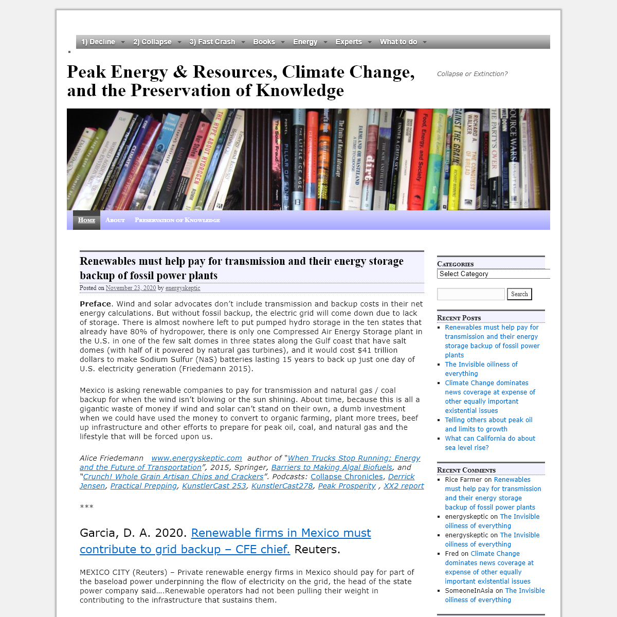 Peak Energy & Resources, Climate Change, and the Preservation of Knowledge - Collapse or Extinction-