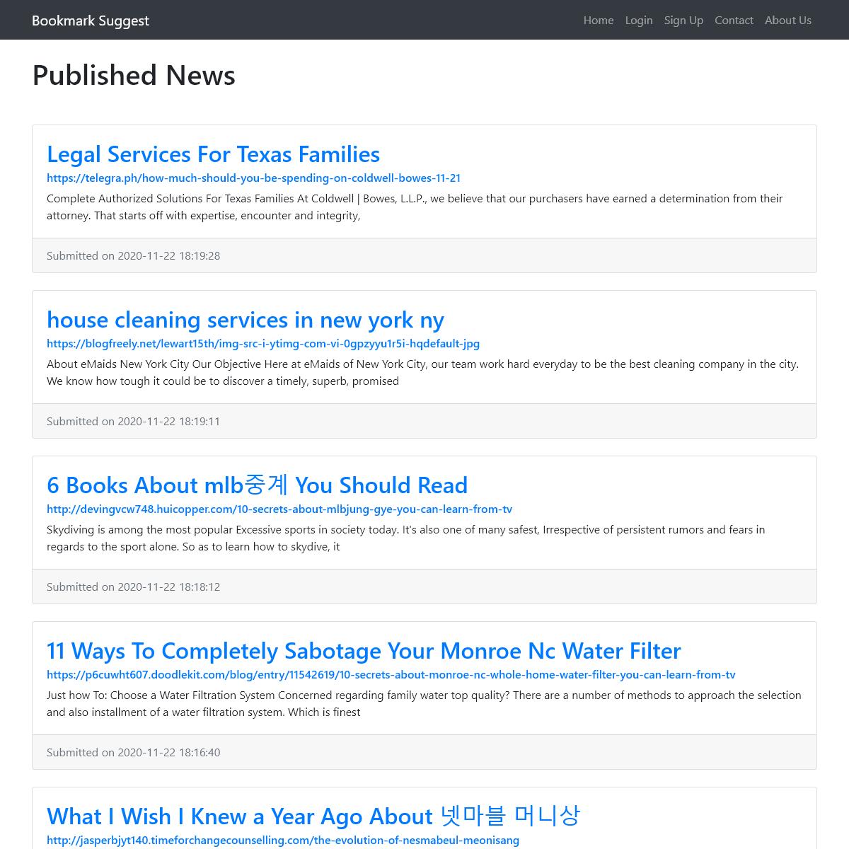 Published News - Bookmark Suggest