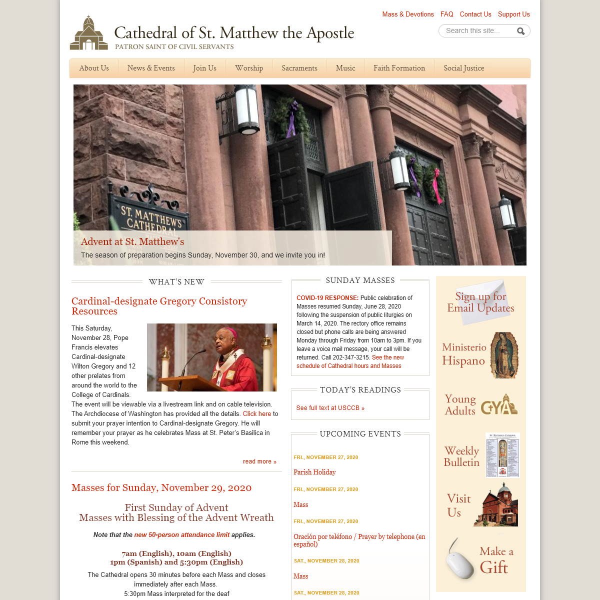 Cathedral of St. Matthew the Apostle in Washington - Downtown Catholic parish and seat of the Archbishop of Washington, D.C.