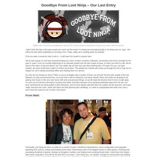 Loot Ninja - Unbiased Gaming News, Reviews, Previews and Editorials