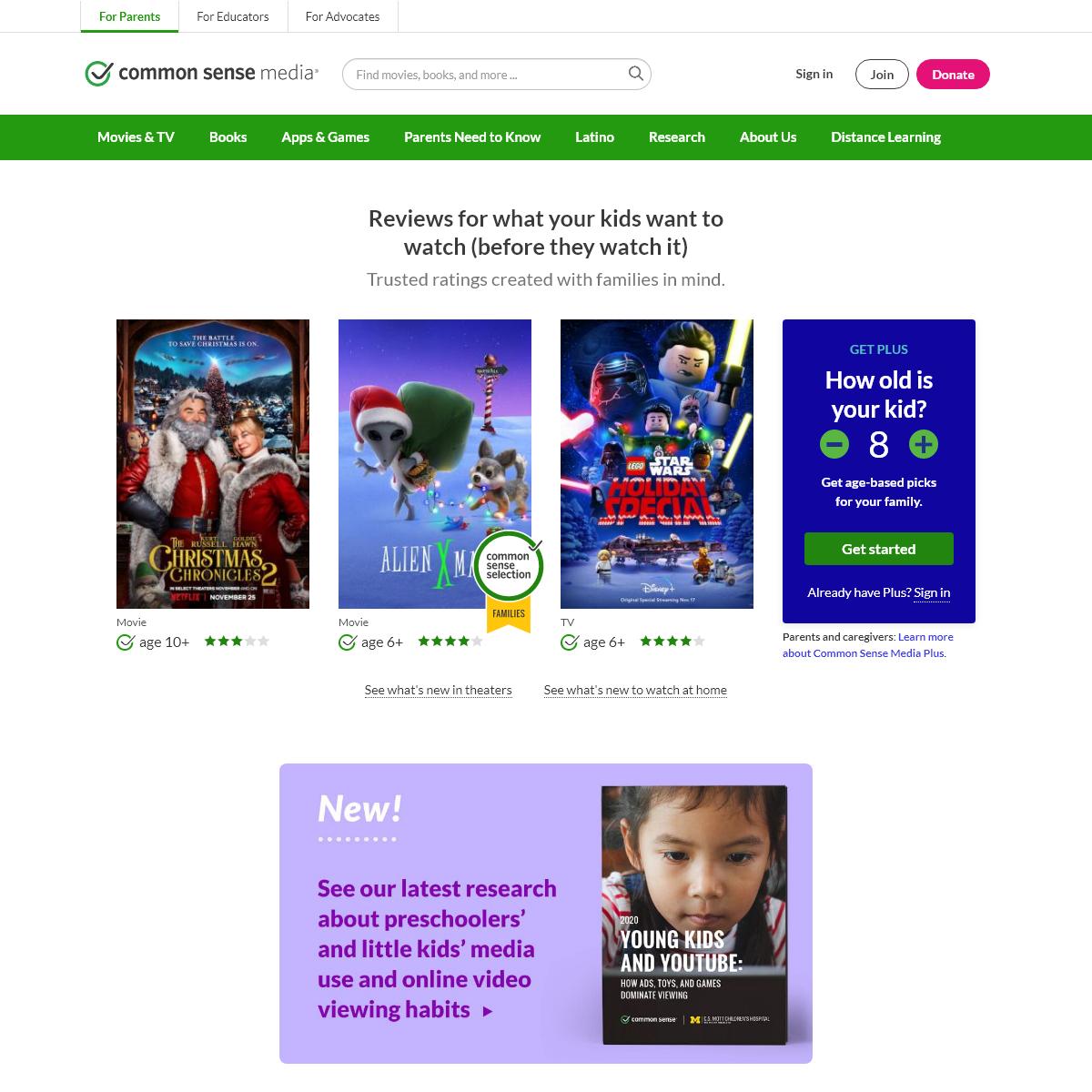 Common Sense Media- Age-Based Media Reviews for Families