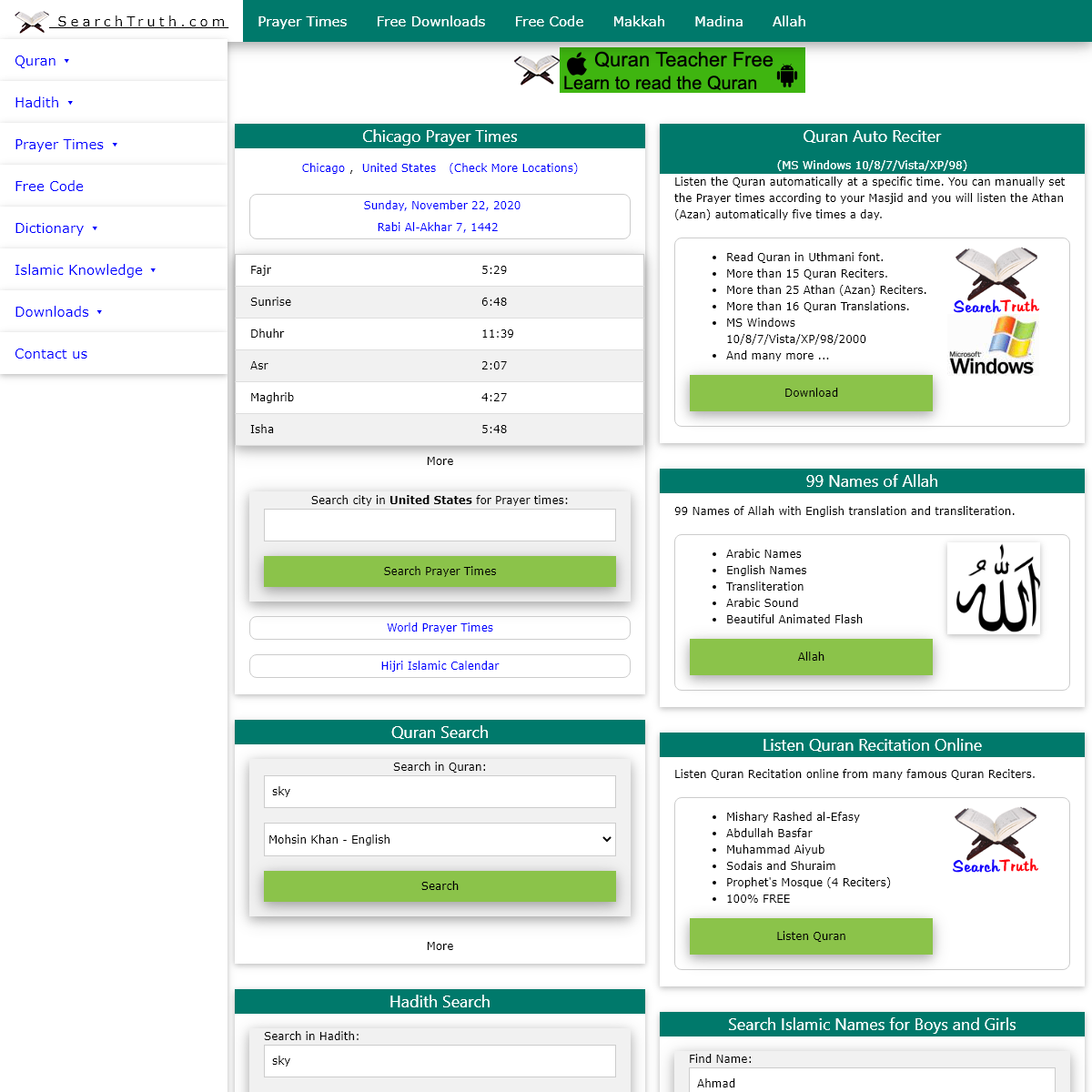 Search Truth in Quran, Hadith, Prayer Times, Dictionary, Islamic Names