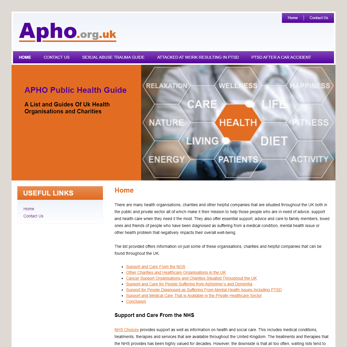 Home - APHO Public Health Guide - Health & Medical Information In The UK