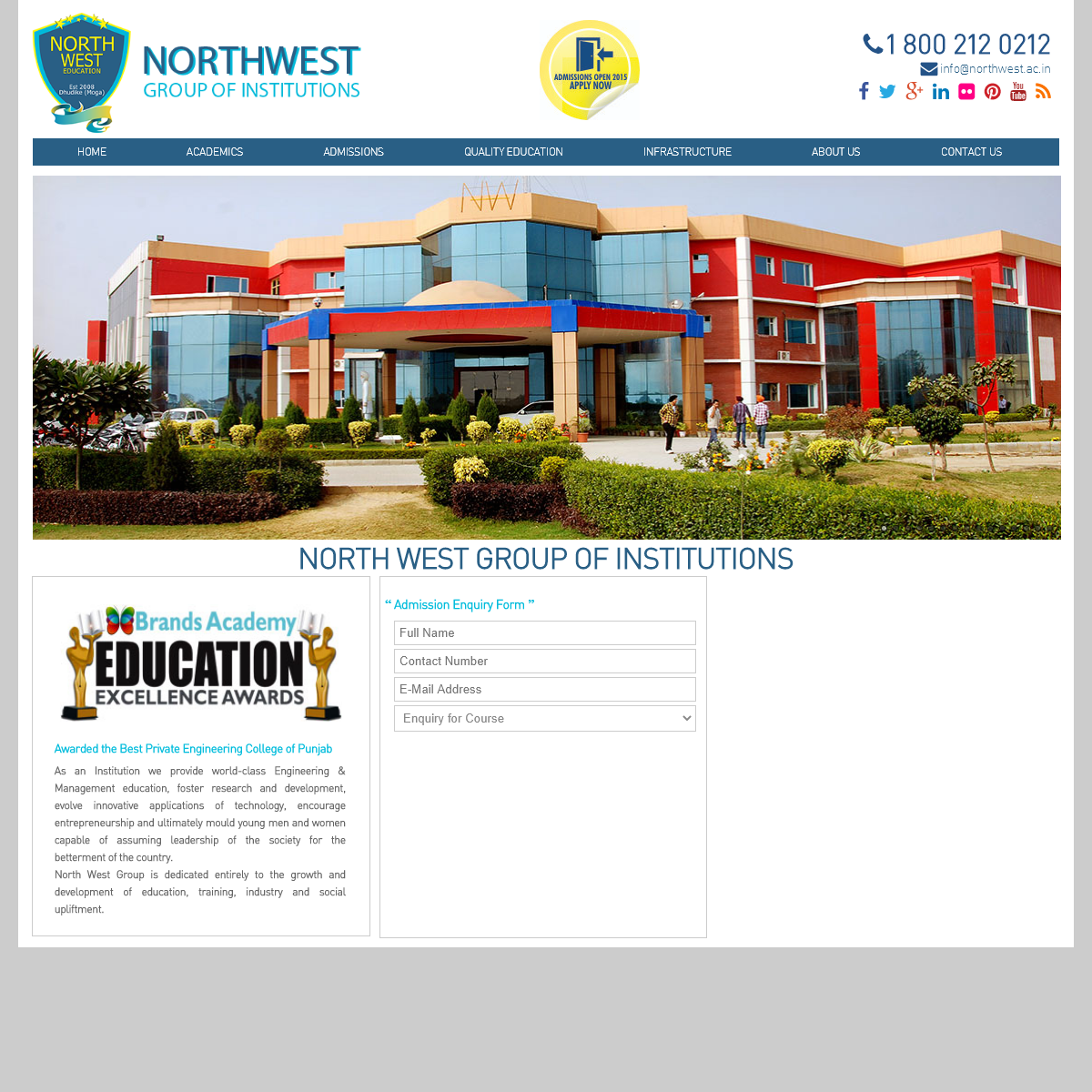 NORTH WEST Group of Institutions - An Inspirational College in the Region