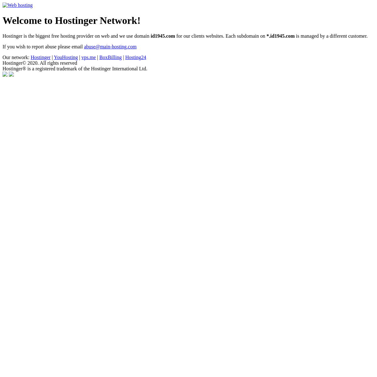 Welcome to id1945.com - Managed by Hostinger