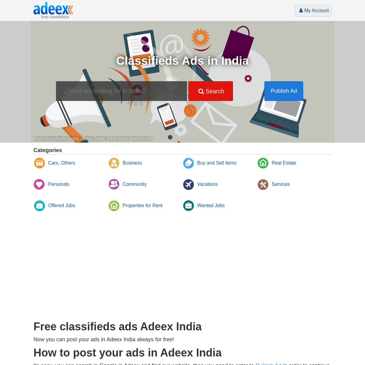 Ads Classifieds in India. Free ads Adeex.