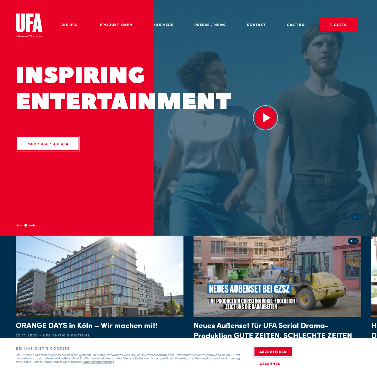UFA – Heimat für Film, Serien, Show, Doku & Digital