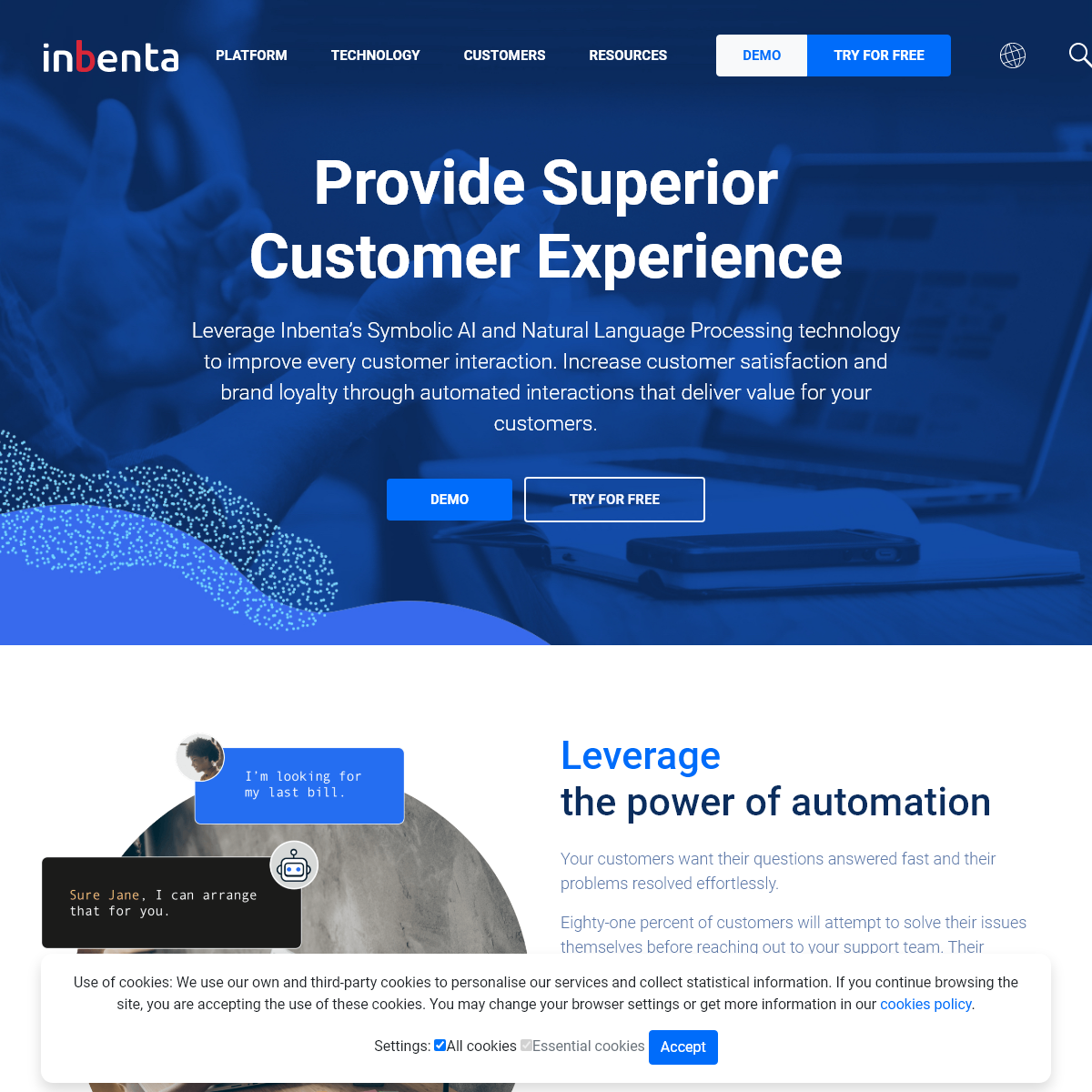Inbenta - Artificial Intelligence - Enterprise Search - Chatbots - Ticketing