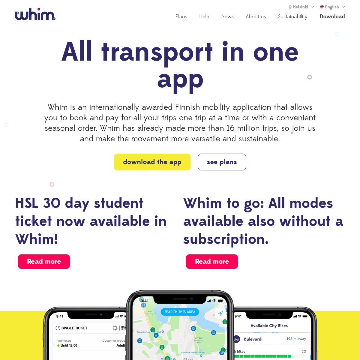 Whim - All your journeys with bus, tram, taxi, car, bike and more in 1 app.