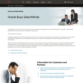 Oracle and SelectMinds