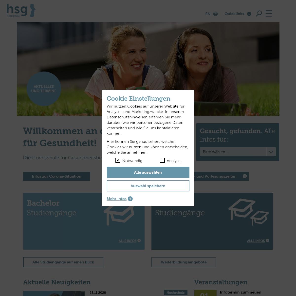 Startseite - Hochschule für Gesundheit